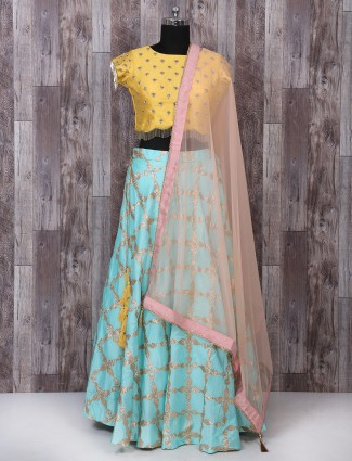 Sky blue and yellow color lehenga choli