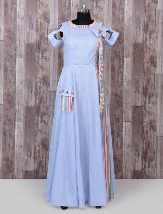 Sky blue color cotton silk long kurti