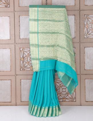Sky blue color georgette fabric saree