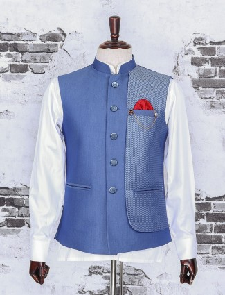 Sky blue color raw silk fabric waistcoat set