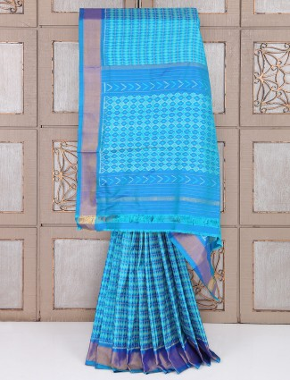 Sky blue color silk fabric patola saree