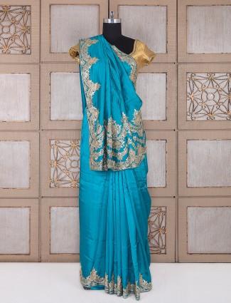 Sky blue color silk fabric saree