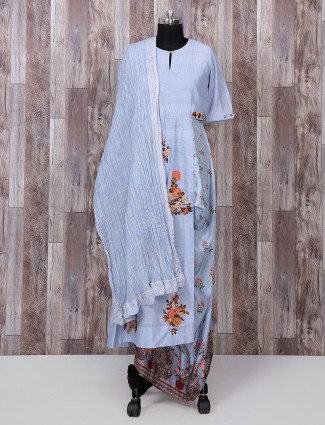 Sky blue color silk palazzo suit for party