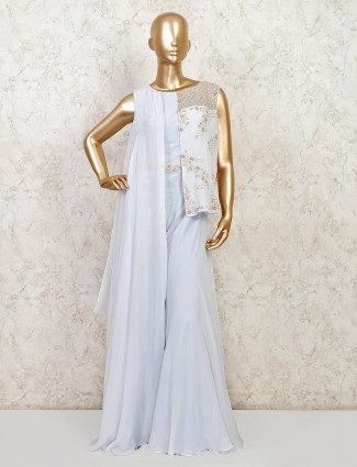Sky blue colour georgette wedding session outfit