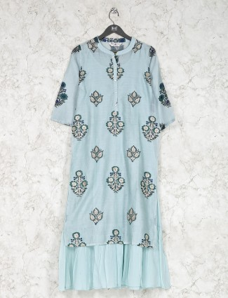 Sky blue cotton fabric printed kurti