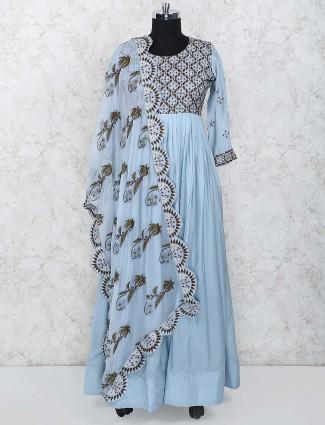 Sky blue cotton floor length anarkali salwar suit