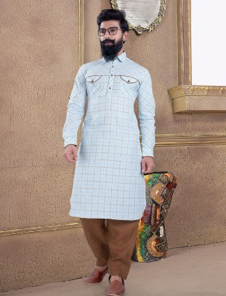 Sky blue cotton silk pathani suit