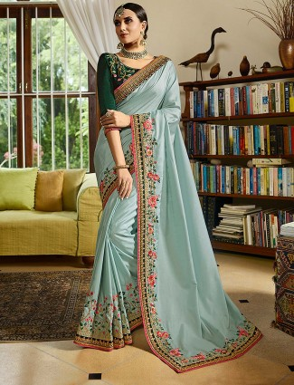 Sky blue festive  semi silk saree