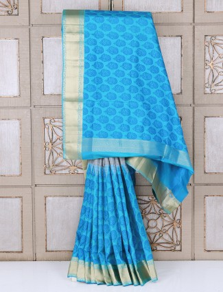 Sky blue festive silk saree