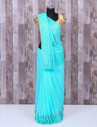 Sky blue festive wear georgette saree