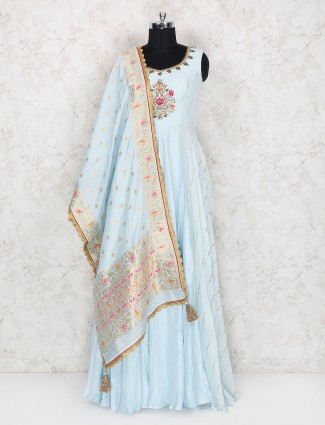 Sky blue floor length anarkali suit in raw silk