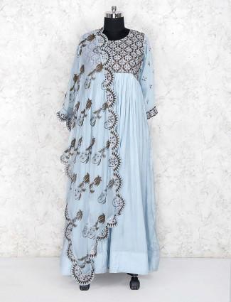 Sky blue floor length salwar suit in cotton