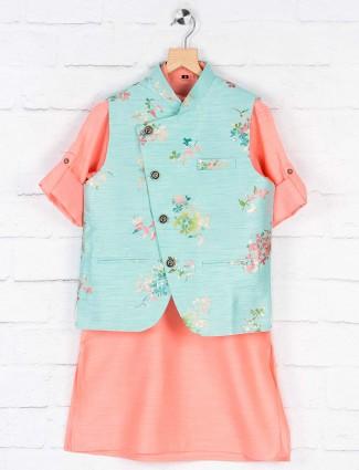 Sky blue flower printed raw silk waistcoat set