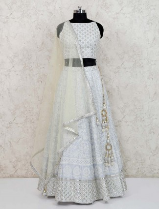 Sky blue georgette party function lehenga choli