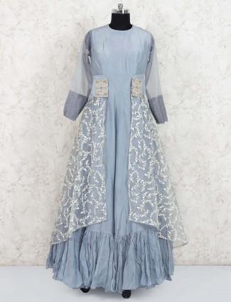 Sky blue hued cotton silk designer gown