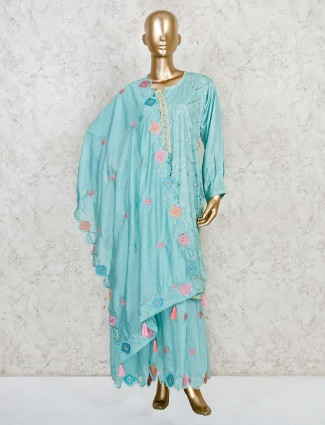 sky blue kurti with palazzo pants in cotton