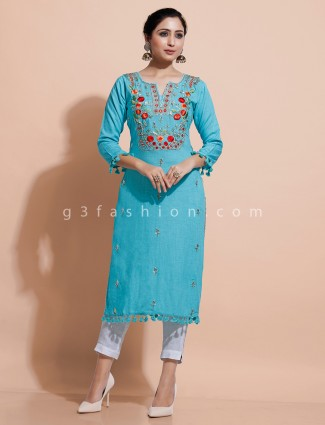 Sky blue kurti with thread work for festive in cotton