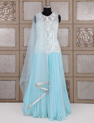 Sky blue net fabric classic anarkali suit