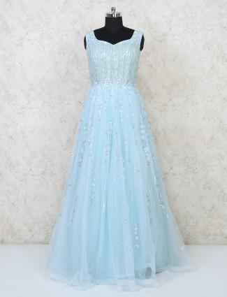 Sky blue net floor length gown