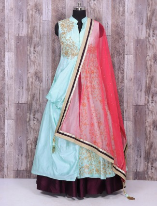 Sky blue silk indo western for wedding