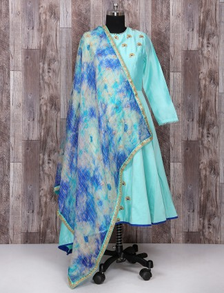 SKy blue silk simple salwar suit