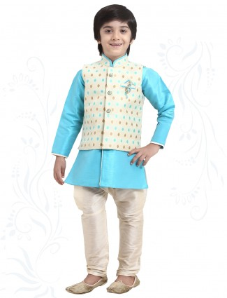 Sky blue silk waistcoat set