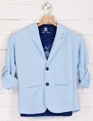 Sky blue solid notch lapel blazer