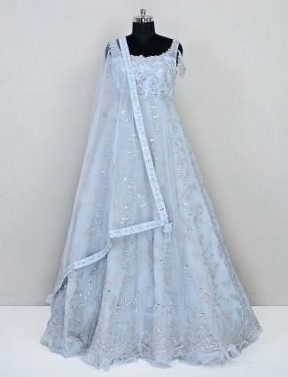 Sky blue wedding wear net gown