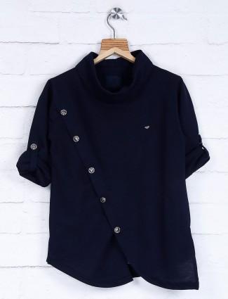 Sober navy hue cotton fabric kurta