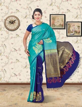 Soft silk fabric aqua and blue color saree
