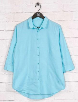Solid aqua full buttoned placket shirt