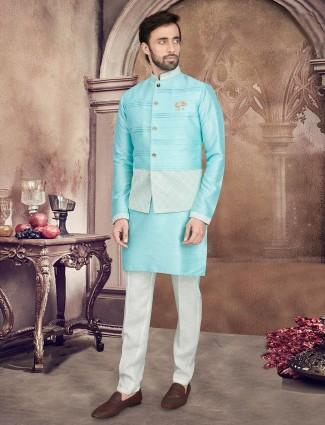 Solid aqua raw silk mens waistcoat set