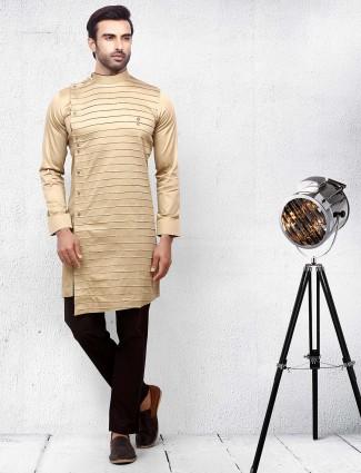 Solid beige color cotton fabric kurta suit