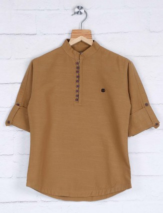 Solid beige hue half buttoned placket shirt