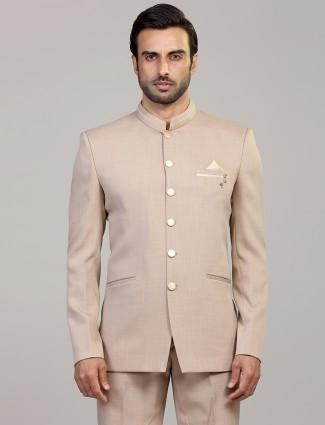 Solid beige mens terry rayon jodhpuri blazer