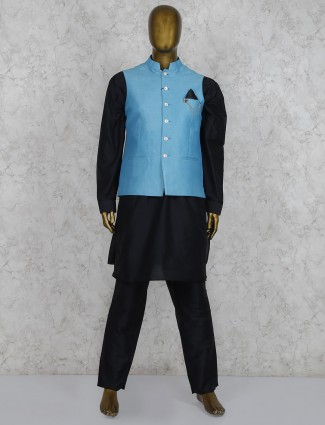 Solid black and aqua color silk waistcoat set