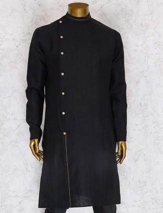 Solid black hue designer mens kurta payjama