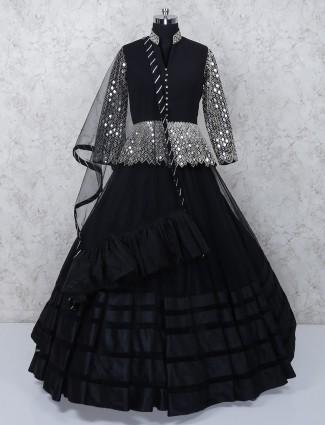 Solid black net designer peplum style lehenga choli