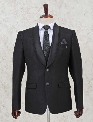 Solid black two buttoned terry rayon three piece coat suit