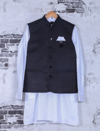 Solid black white waistcoat set