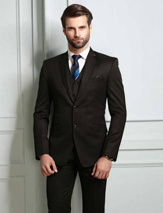 Solid brown color two buttoned coat suit