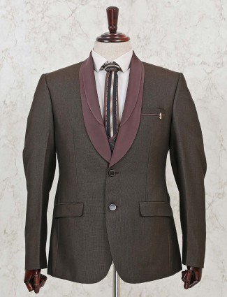 Solid brown terry rayon three piece coat suit