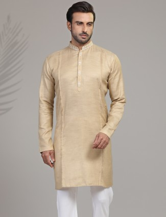 Solid cotton silk kurta in beige