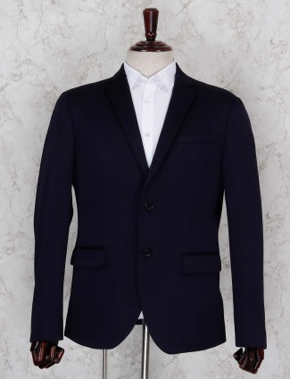 Solid dark navy hued terry rayon blazer