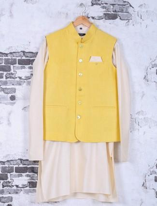 Solid festive wear yellow silk waistcoat set