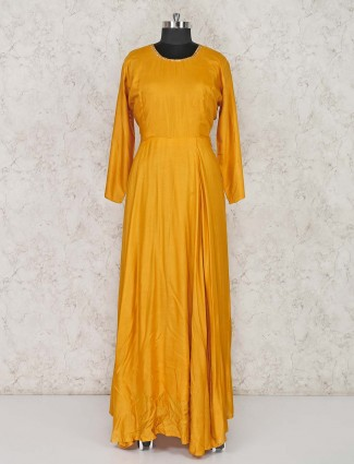 Solid floor length orange cotton silk salwar suit