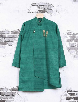 Solid green kurta suit