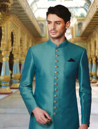 Solid green raw silk wedding wear sherwani
