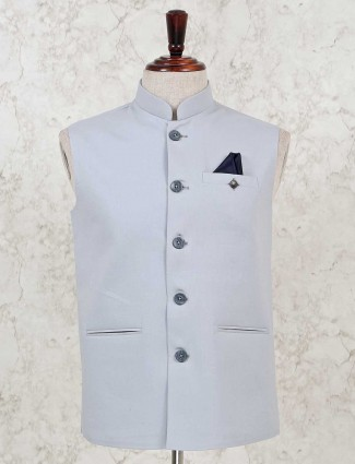 Solid grey cotton silk party wear waistcoat