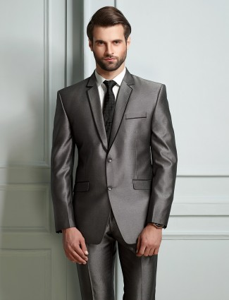Solid grey terry rayon fabric mens coat suit